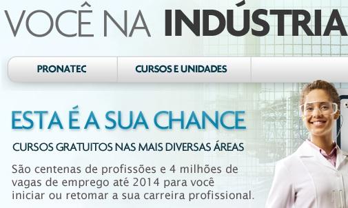 www.vocenaindustria.com.br/pronatec, Pronatec você na indústria